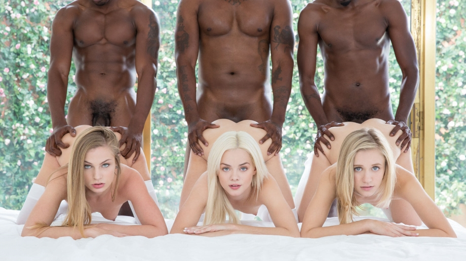 Interracial – Elsa Jean – Rachel James – Sydney Cole – Preppy Girl Threesome Get Three BBCs