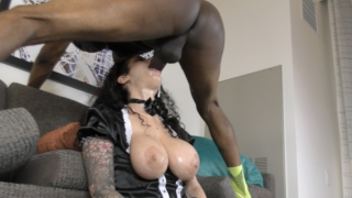 Arabelle, The Busty, Nosy French Maid, Cleans Black Ass But Makes A SLOPPY THROAT MESS! – Arabelle Raphael