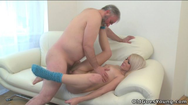 Sexy young blonde spreads her legs for older man – Nona
