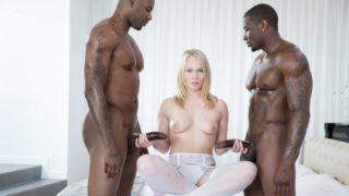 Beautiful Blonde Screams With 2 Big Black Cocks – Dakota James