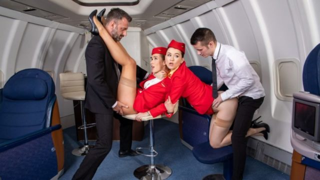 Horny flight on Dorcel Airline – Alexis Crystal – Misha Cross